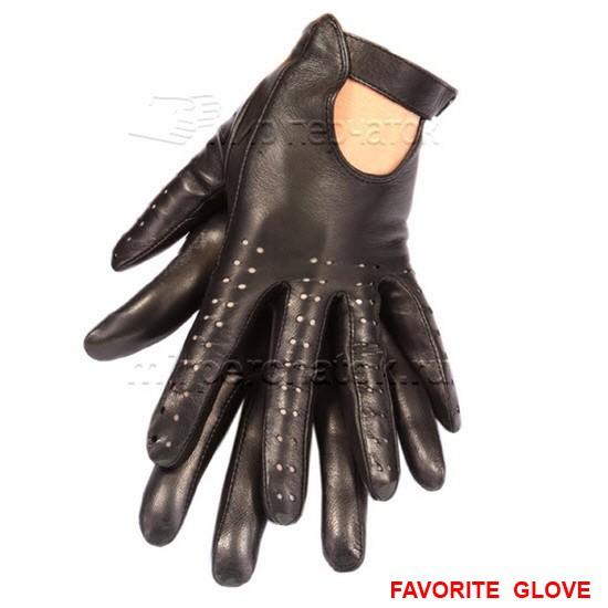 Кожаные перчатки с открытой тыльной стороной ладони