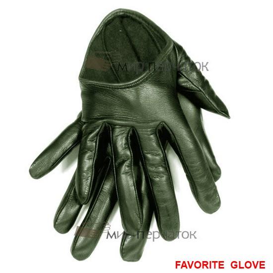 зеленые кожаные перчатки с глубоким вырезом