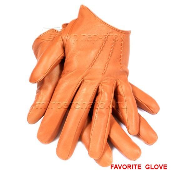 яркие оранжевые кожаные перчатки с укороченным запястьем
