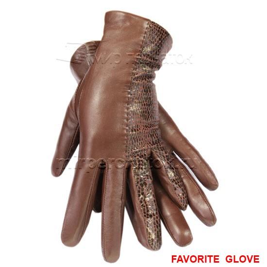 Комбинированные кожаные перчатки коричневых оттенков